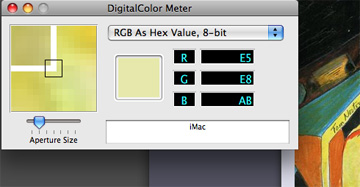RGB Hex Value Demo using Mac's Digital Color Meter App