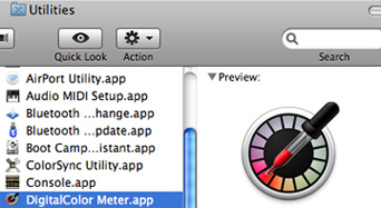 Locating Mac's Digital Color Meter App on your Computer